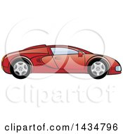 Clipart Of A Red Sports Car Royalty Free Vector Illustration
