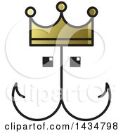 Clipart Of A Fish Hook Face With A Crown Royalty Free Vector Illustration