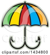 Clipart Of A Colorful Umbrella With Fishing Hooks Royalty Free Vector Illustration