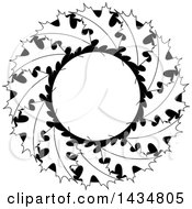 Clipart Of A Wreath Of Black And White Maple Leaves Royalty Free Vector Illustration by Lal Perera
