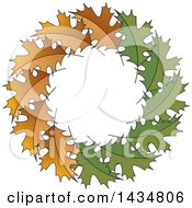 Clipart Of A Wreath Of Brown And Green Maple Leaves Royalty Free Vector Illustration by Lal Perera