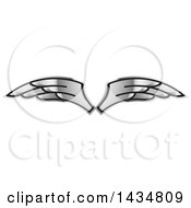 Clipart Of A Pair Of Silver Wings Royalty Free Vector Illustration