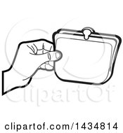 Black And White Lineart Hand Holding A Coin Purse