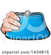 Clipart Of A Hand Holding A Blue Coin Purse Royalty Free Vector Illustration by Lal Perera
