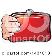 Clipart Of A Hand Holding A Red Coin Purse Royalty Free Vector Illustration by Lal Perera