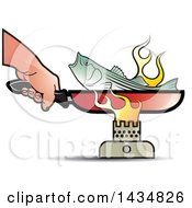 Poster, Art Print Of Hand Holding A Frying Pan Handle And Cooking A Fish Over A Burner