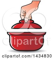 Clipart Of A Hand Lifting The Lid On A Sauce Pan Royalty Free Vector Illustration