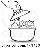 Clipart Of A Black And White Hand Putting A Lid On A Sauce Pan Full Of Vegetables Royalty Free Vector Illustration