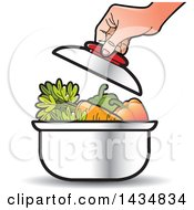 Clipart Of A Hand Putting A Lid On A Sauce Pan Full Of Vegetables Royalty Free Vector Illustration
