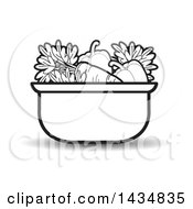 Clipart Of A Black And White Sauce Pan Full Of Vegetables Royalty Free Vector Illustration