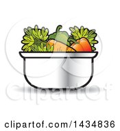 Clipart Of A Sauce Pan Full Of Vegetables Royalty Free Vector Illustration by Lal Perera
