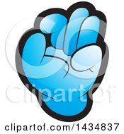 Clipart Of A Blue Hand Gesturing Ok Royalty Free Vector Illustration