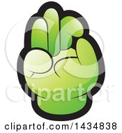 Clipart Of A Green Hand Gesturing Ok Royalty Free Vector Illustration