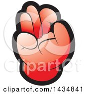 Clipart Of A Red Hand Gesturing Ok Royalty Free Vector Illustration