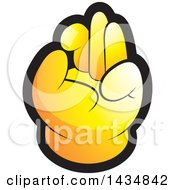 Clipart Of A Yellow Hand Gesturing Ok Royalty Free Vector Illustration