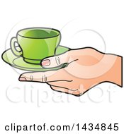 Poster, Art Print Of Hand Holding A Green Tea Cup And Saucer