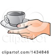 Clipart Of A Hand Holding A Gray Tea Cup And Saucer Royalty Free Vector Illustration by Lal Perera