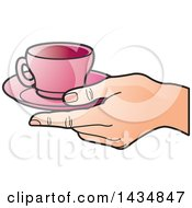Poster, Art Print Of Hand Holding A Pink Tea Cup And Saucer