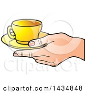 Poster, Art Print Of Hand Holding A Yellow Tea Cup And Saucer