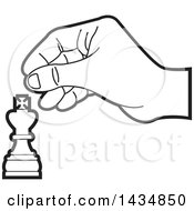 Clipart Of A Black And White Hand Moving A King Chess Piece Royalty Free Vector Illustration
