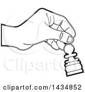 Clipart Of A Black And White Hand Moving A Pawn Chess Piece Royalty Free Vector Illustration by Lal Perera