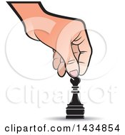 Clipart Of A Hand Moving A Bishop Chess Piece Royalty Free Vector Illustration