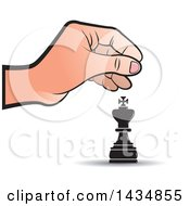 Clipart Of A Hand Moving A King Chess Piece Royalty Free Vector Illustration