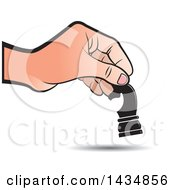 Clipart Of A Hand Moving A Knight Chess Piece Royalty Free Vector Illustration