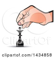 Clipart Of A Hand Moving A Queen Chess Piece Royalty Free Vector Illustration