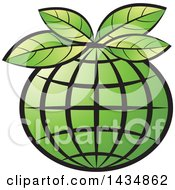 Clipart Of A Green Grid Globe With Leaves Royalty Free Vector Illustration by Lal Perera