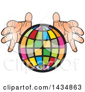 Clipart Of A Colorful Grid Globe With Hands Royalty Free Vector Illustration