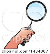 Clipart Of A Hand Holding A Magnifying Glass Royalty Free Vector Illustration