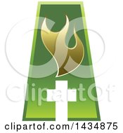 Poster, Art Print Of Green Abstract Capital Letter A With A Cross And Gold Flames