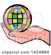 Clipart Of A Hand Holding A Colorful Grid Globe Royalty Free Vector Illustration by Lal Perera