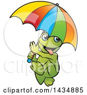 Clipart Of A Goofy Frog Walking With An Umbrella Royalty Free Vector Illustration by Lal Perera