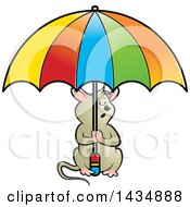 Clipart Of A Mouse Holding An Umbrella Royalty Free Vector Illustration