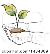 Clipart Of A Black And White Kid Hands Holding A Plant And Soil Royalty Free Vector Illustration
