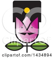 Clipart Of A Tulip Flower With A Face Royalty Free Vector Illustration