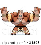 Clipart Of A Cartoon Scared Buff Muscular Zulu Warrior Holding His Hands Up Royalty Free Vector Illustration