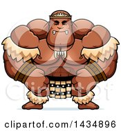 Clipart Of A Cartoon Mad Buff Muscular Zulu Warrior Royalty Free Vector Illustration