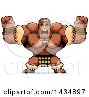 Clipart Of A Cartoon Buff Muscular Zulu Warrior Holding His Fists Up In Balls Of Rage Royalty Free Vector Illustration