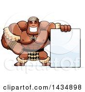 Clipart Of A Cartoon Buff Muscular Zulu Warrior With A Blank Sign Royalty Free Vector Illustration