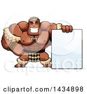 Cartoon Buff Muscular Zulu Warrior With A Blank Sign