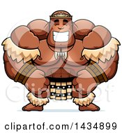 Clipart Of A Cartoon Happy Buff Muscular Zulu Warrior Royalty Free Vector Illustration