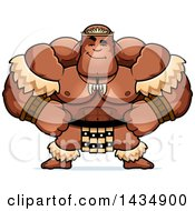 Clipart Of A Cartoon Smug Buff Muscular Zulu Warrior Royalty Free Vector Illustration