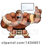 Clipart Of A Cartoon Buff Muscular Zulu Warrior Holding Up A Finger And Talking Royalty Free Vector Illustration