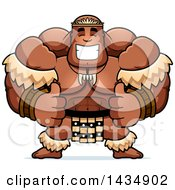Clipart Of A Cartoon Buff Muscular Zulu Warrior Giving Two Thumbs Up Royalty Free Vector Illustration