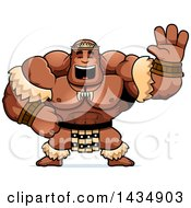 Clipart Of A Cartoon Buff Muscular Zulu Warrior Waving Royalty Free Vector Illustration