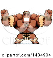 Clipart Of A Cartoon Cheering Buff Muscular Zulu Warrior Royalty Free Vector Illustration