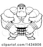 Clipart Of A Cartoon Black And White Lineart Mad Buff Muscular Zulu Warrior Royalty Free Vector Illustration by Cory Thoman